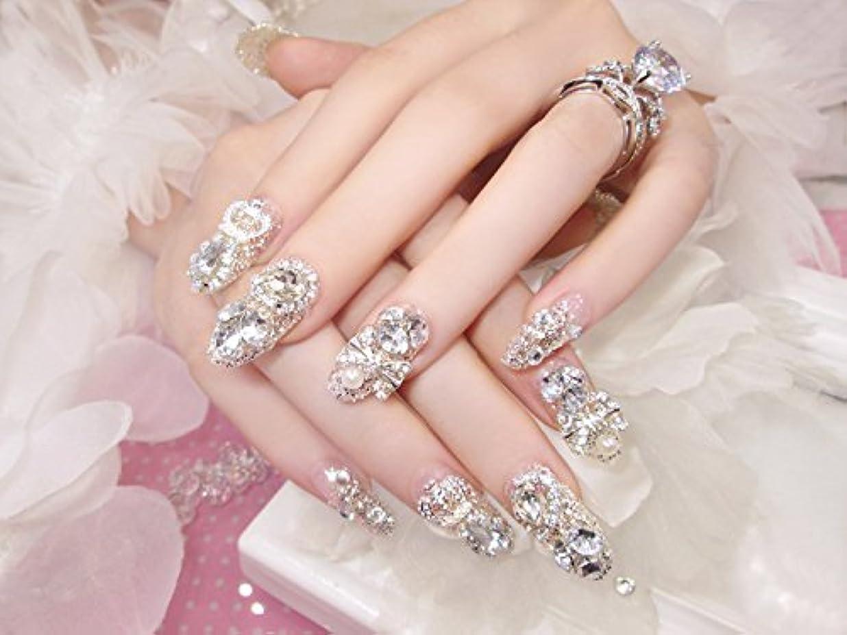 豪華な二層対花嫁ネイル 手作りネイルチップ ラインストーンリボンが輝く フルチップ シンプル ネイルチップ24枚セット 人造ダイヤモンド 両面接着テープ付き 結婚式、パーティー、二次会などに ジルコン (A36)