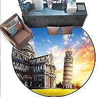 """イタリアンラウンドソフトエリアラグ 大きな形のロックイタリアンシーケープとスカイヨーロピアンシークレットパラダイスアートワーク どんな部屋にも最適、フロアカーペット (直径55インチ) ターコイズ グレー 6'6""""/2m"""