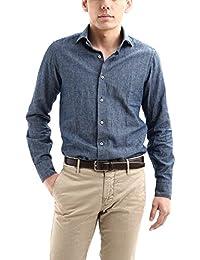 ALESSANDRO GHERARDI (アレッサンドロゲラルディ) Chambray Shirts カッタウェイ コットンリネン シャンブレーシャツ NAVY (ネイビー・690) made in italy