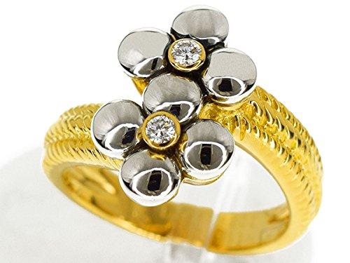 (メレリオ ディ メレー) Mellerio dits Meller ダイヤモンド(D0.07ct)フラワー リング 750 K18 YG WG イエローゴールド ホワイトゴールド 日本サイズ約12号 #52 PARIS 29771009