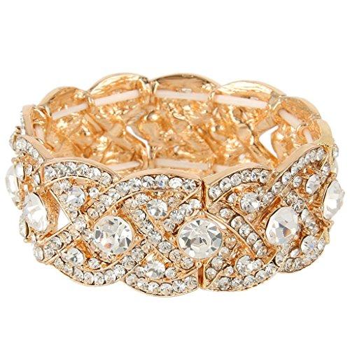 [해외][에버 페이스] EVER FAITH 크리스탈 신부 스트레치 팔찌 팔찌 골드 톤 가져 오기/[Eberface] EVER FAITH Crystal Bridal Stretch Bracelet Bangle Gold Tone [Import]