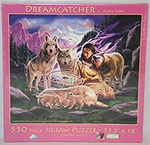SunsOut 550PieceパズルドリームキャッチャーネイティブアメリカンWoman with Wolves during a beautiful purple sunset in the mountains | おもちゃ 通販