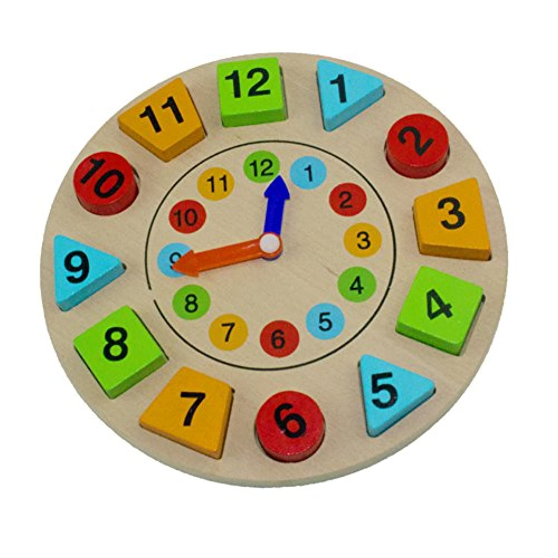 LanLan木製クロックパズル玩具ジオメトリデジタル木製玩具クロックStackingパズルおもちゃ