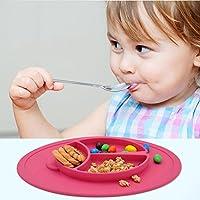 Kuke 一つ(レッド)防水シリコン 吸盤付き 強い吸着力 かわいいビートル形プレート 遊び食べ 離乳食 ベビー食器 ランチ皿 お食事マット 赤ちゃんミニマット 子供食器 ベビー用品