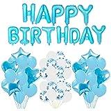 誕生日 飾り付け セット, ANKE ブルー バースデー アルミ バルーン 装飾セット ハンドポンプ・両面テ&ピンク 特大ハートスター風船レーション (ブルー)
