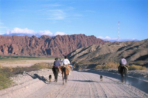 Gauchos in Quebrada de las flechas nearサルタ、アルゼンチンGicleeアートプリントポスターまたはキャンバス 54 x 36 1750-660506_54X36