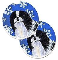 Caroline 's Treasures Japanese Chin Winter Snowflakes Holiday 2カップホルダー車コースターのセットss4605carc、2.56、マルチカラー