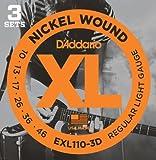 【 並行輸入品 】 D'Addario (ダダリオ) EXL110-3D Nickel Wound エレキギター 弦, Regular Light, 10-46, 3 Sets