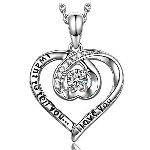 NINASUN]レディ スへバレンタインデ のハ トのプレゼント好きだよ!ホワイトゴ ルドめっきS925シルバ のネックレス AAAAジルコニアのペンダント(黒いギフトボックス付き)