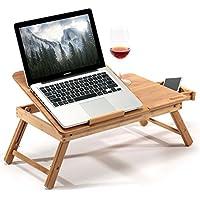 Hankey ノートパソコンデスク 折りたたみテーブル ローテーブル 竹製 天板角度調節可 引き出し付き LD01