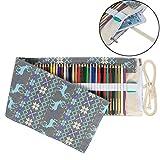 Damero 色鉛筆収納バッグ 72穴 キャンバス チャックポケット付き ロールアップデザイン 旅行小物 プレゼント 鹿(鉛筆が含まない)