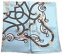 日本製 シルクスカーフ 9042 ジェシカベース 100%シルク ツイル 大判 正方形スカーフ ブランドケース入り (ブルー)