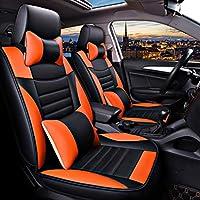 カーシートカバー、フロントリア5シートフルセットユニバーサルレザーシーズンズプロテクターパッド対応エアバッグ枕。 (色 : Orange)