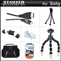 スターターアクセサリーキットfor Sony HDR - cx220、hdr-cx230、hdr-cx290、hdr-pj230、hdr-cx380、Hdr - pj380、hdr-cx430V、hdr-pj430V、hdr-td30V、hdr-pj650V、hdr-pj790VビデオカメラIncludes Deluxe Carrying Case + 7柔軟な三脚+マイクロHDMIケーブル+ Much More