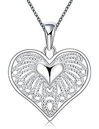 lureme ロマンチックスタイルのシルバーメッキ中空ハートペンダントネックレス(01003767)