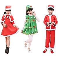 【HALLE】コスプレ小物 パーティーグッズ なりきり キッズ 子供用   クリスマスサンタ クリスマスツリー クリスマスガール  ハロウィン衣装 コスチューム (150サイズ, サンタ風)