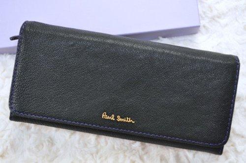 (ポールスミス) Paul Smith 牛革 クラシックトリム フラップ 長財布 専用箱付/ 黒(ブラック)
