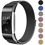 "for Fitbit Charge 2 Bands Metal, Swees Milanese Stainless Steel Replacement Accessories Magnetic Metal Small & Large Bands (5.5"" - 9.9"") for Fitbit Charge 2, Silver, Gold, Rose Gold, Black, Colorful"