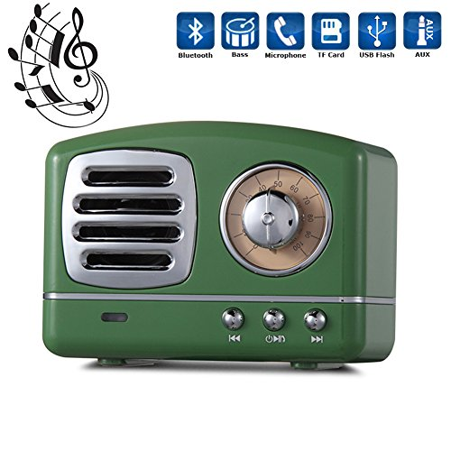 RoomClip商品情報 - Portable Bluetooth Speaker, Soundmae Super Bass Stereo Retro Wireless 4.0 Bluetooth Speakers with Built-in Micorphone, Handfree Calling, AUX Line, USB Flash Drive and TF Card - Green