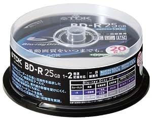 TDK 録画用ブルーレイディスク 25GB BD-R(1回録画用) 2X ホワイトワイドプリンタブル 20枚スピンドル BRV25PWA20PS