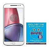 Motorola(モトローラ) Moto G4 Plus SIMフリースマートフォン ホワイト 【国内正規代理店】&BIGLOBE SIM エントリーパッケージ ドコモ対応SIMカード データ通信/音声通話 (ナノ/マイクロ/標準SIM)[iPhone/Android] 最大 20,000円キャッシュバック EP-1