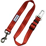 Zenify Heavy Duty Dog Seat Belt - Durable Car Seat Leash for Dogs Puppies - Pet Harness Vehicle Safety (Red)
