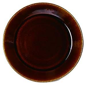 陶器の平皿 益子焼つかもと 益子伝統釉シリーズ 8寸平皿 陶器 直径25.5cm (飴)