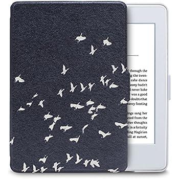 WALNEW Amazon Kindle PaperwhiteとPaperwhiteマンガモデル用カバー(Kindle Paperwhite (2018年に公開した第10世代)に適応できない)鳥の絵 素材クリア マグネット機能搭載 最も薄く、最軽量の保護, 鳥