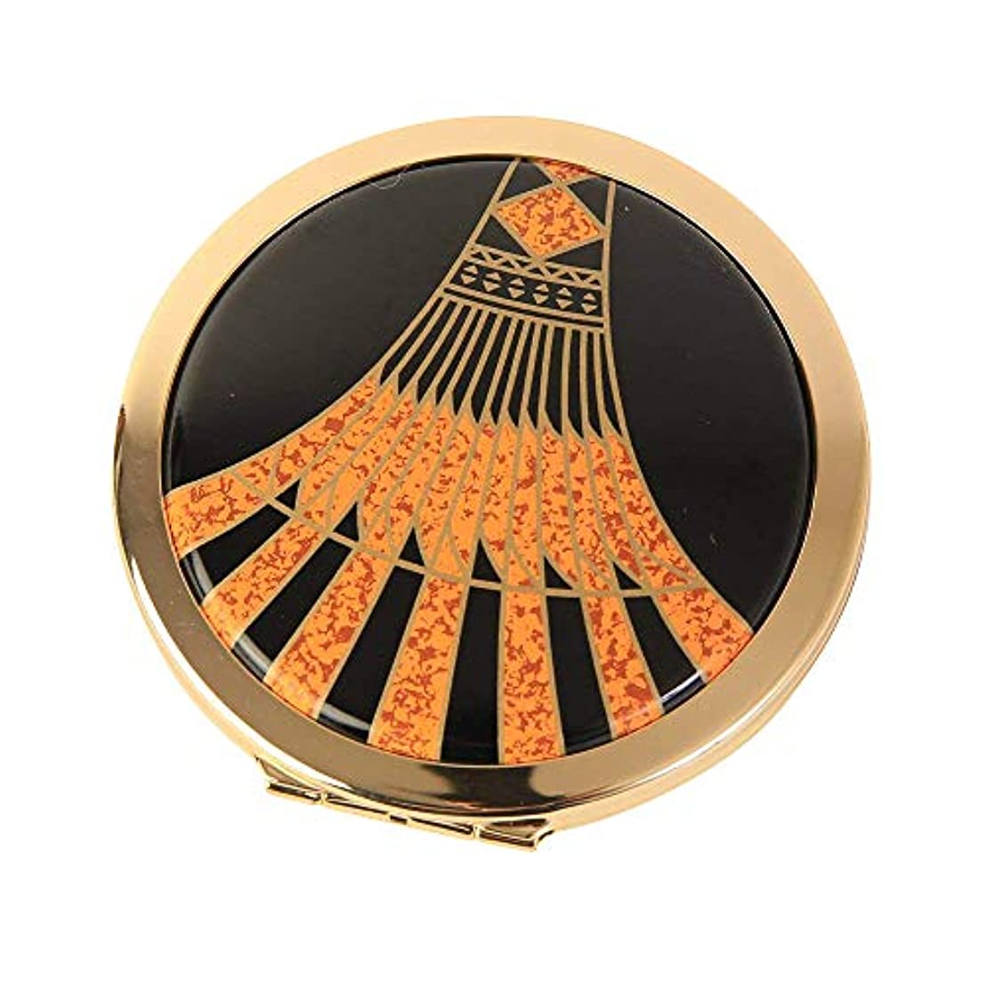 めったにペインティング親Stratton ストラットン コンパクト ダブルミラー 等倍+拡大 ブラック×オレンジ Art Deco ST1139