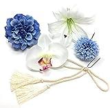 成人式 卒業式 結婚式にカサブランカ ダリア 丸菊 髪飾り5点セット ブルー