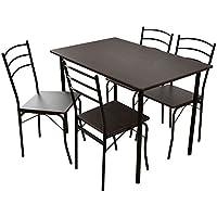 (DORIS) ダイニングテーブル 5点セット 【モーリス ブラウン】 テーブル&チェア(5点セット) 4人掛け 幅:110cm 組み立て式