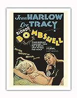 """""""Blonde Bombshell"""" - 主演 Jean Harlow, Lee Tracy, Frank Morgan - ビンテージなフィルム映画のポスター c.1933 - アートポスター - 28cm x 36cm"""