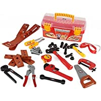 Power Tools Construction Tool Box for Kids with 31 Pcs Pretend Play Tools, Belt and Workshop Accessories Toy Set [並行輸入品]