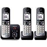 Panasonic KX-TG6823ALB Digital Cordless Phone Triple Pack with 3 Handsets, Black