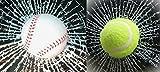 リアル めり込み 立体 ひび割れ ボール ステッカー 2種類 セット ( テニス & 野球 )