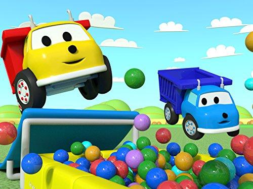 イーサンとミニイーサンのジャンプ&射的をしながら色と数字を学ぼう-ダンプトラックのイーサン