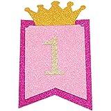 Funpa テーブル飾り バナー 誕生日 1歳 100日 お祝い ベビーため 2色選択 紙 パーティー アクセサリー デコレーション 掛け飾り (ピンク)