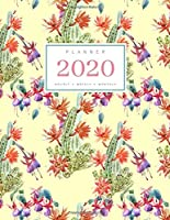 Planner 2020 Hourly Weekly Monthly: 8.5 x 11 Large Notebook Organizer with Hourly Time Slots | Jan to Dec 2020 | Watercolor Cactus Flower Design Yellow