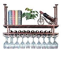 二重層の金属の天井のワイングラスの棚のシャンペンのコップ/ゴブレットのホールダーの脚付きグラス棚棒装飾的な、調節可能な高さ30-60cm