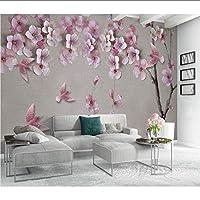 Lcymt 浮彫りにされた壁紙のピンクの花の写真の壁紙の壁画3Dの居間の寝室の自己接着ビニール/絹の壁紙-120X100Cm