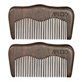 Wood Beard Mustache Comb by ANZIO, Handmade Pocket & Travel Size With or Without PU Leather Credit Card ID Money Holder (Black Sandalwood - 2 Units)