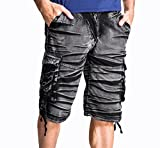 (マガザンレーブ) mgzan rev メンズ ショート メンズパンツ ハーフ カーゴ パンツ 5分丈 無地 全8色(09.アーミーブラック(S))