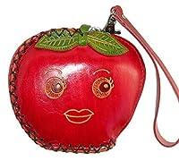 本革Coin Purse w /リストレットストラップ、フルーツ形状–-- Red Apple