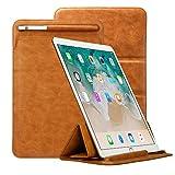 iPad Pro 12.9 ケース Toovren Apple pencil ケース付き ペンホルダー ブラウン レザー 手作り マグネット スタンド機能付き ポーチ型 全面保護 スリム 軽量 薄型 三つ折カバー スリーブ ソフト(brown)