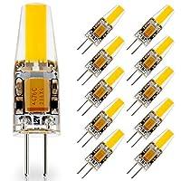 jauhofogei 10パックg4ベースLED電球、20Wガラスハロゲン(デイライトホワイト6000K) 電球交換、12V AC/DC、2W/220ルーメン、JC t3ランプキャビネット下Puckライト、シャンデリア、風景照明