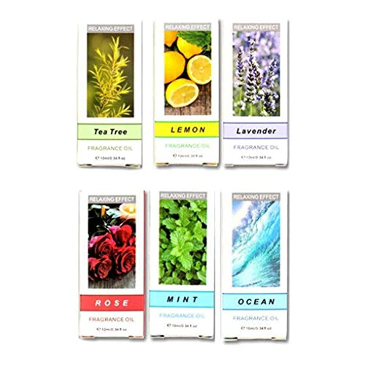 実行も解明uzinby エッセンシャルオイル(天然水溶性) 10ml 6本入り(レモン+ティーツリー+ローズ+ミント+ラベンダー+オーシャン) 天然100%植物性 エッセンシャルオイル アロマオイル アロマ  「100%新品」
