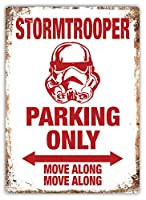 Stormtrooper Parking Only 金属スズヴィンテージ安全標識警告サインディスプレイボードスズサインポスター看板建設現場通りの学校のバーに適した
