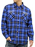 (スミスアメリカン) Smith's American 大きいサイズ シャツ メンズ チェックシャツ 長袖 ネルシャツ 刺繍 起毛 秋 3color 3L ブルー