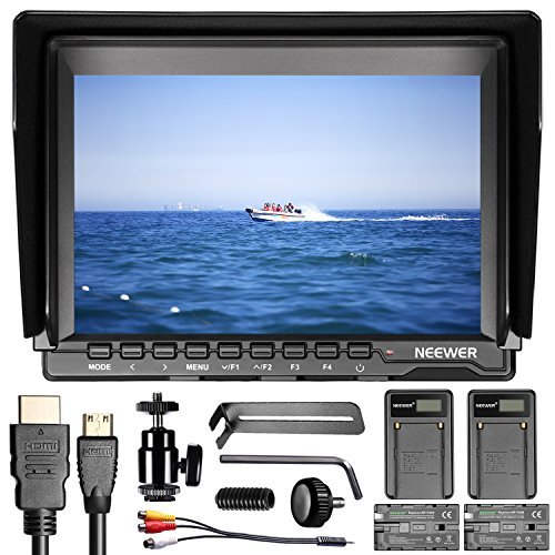NW74K 7インチ ウルトラHD 4K 1280×800 IPS スクリーンカメラフィールドモニター F550交換用バッテリー2個とUSBバッテリー充電器2個付き Sony Canon Nikon Olympus Pentax Panasonicカメラに対応