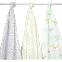 Just Born Muslin Blankets Giraffes, Green/Grey/White by Just Born